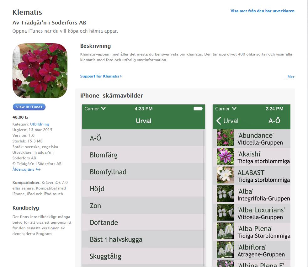 Klematis-app-store